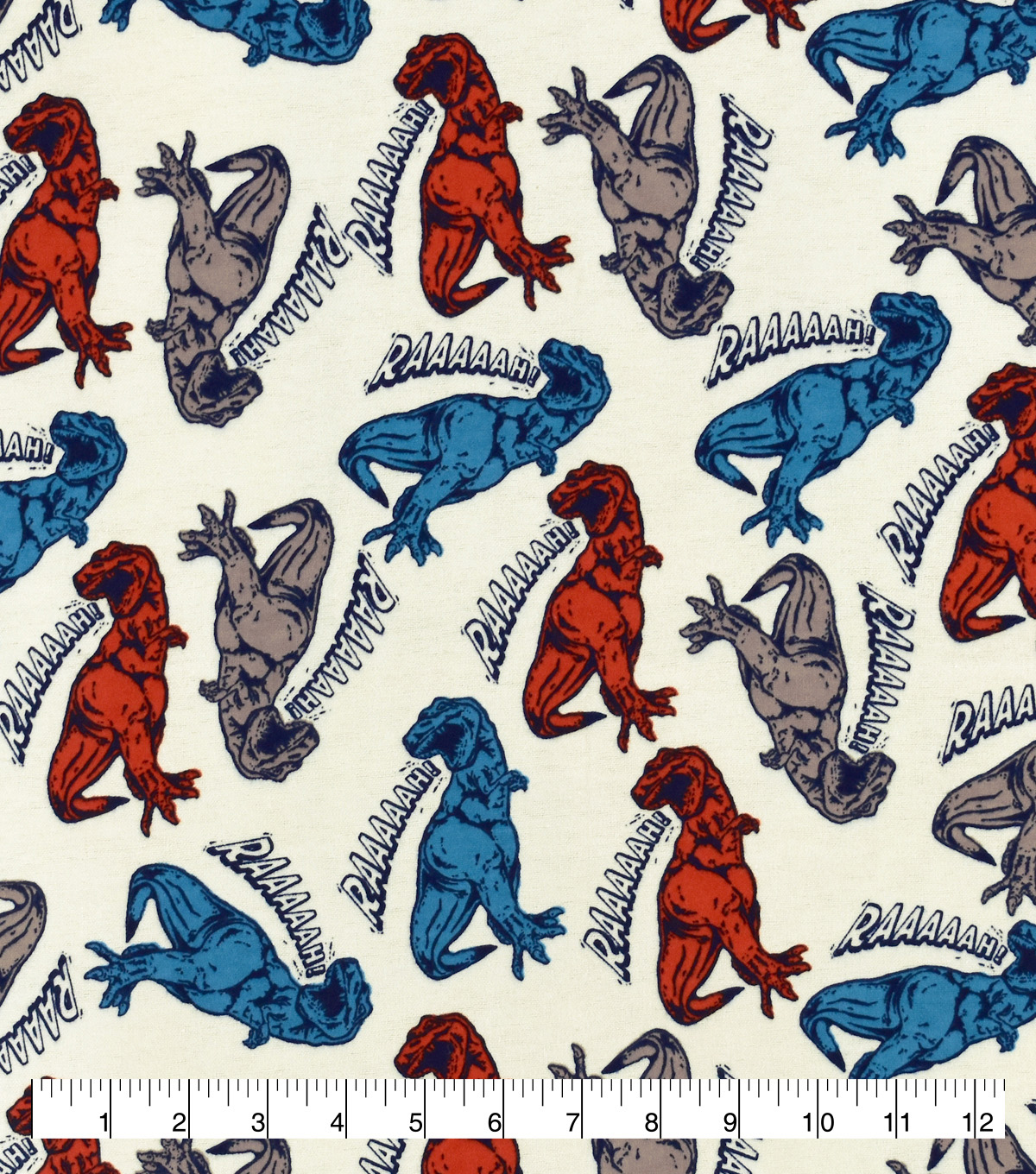 Snuggle Flannel Fabric-Rahhh Dinosaurs