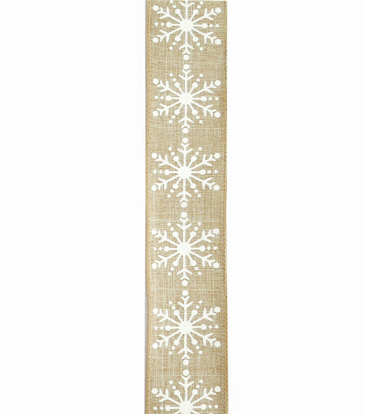 Maker\u0027s Holiday Christmas Ribbon 1.5\u0027\u0027x30\u0027-White Snowflakes on Natural