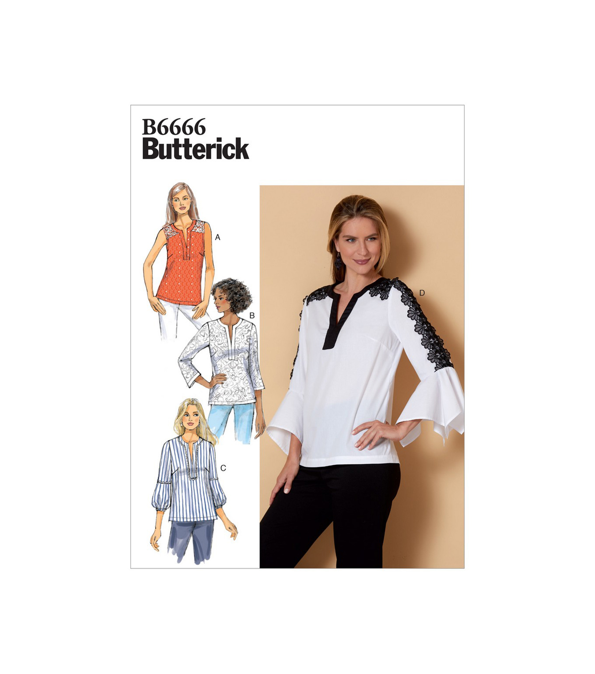 Butterick Pattern B6666 Misses\u0027 Top-Size XS-S-M