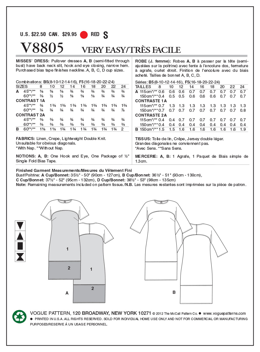 Vogue Patterns Misses Dress-V8805