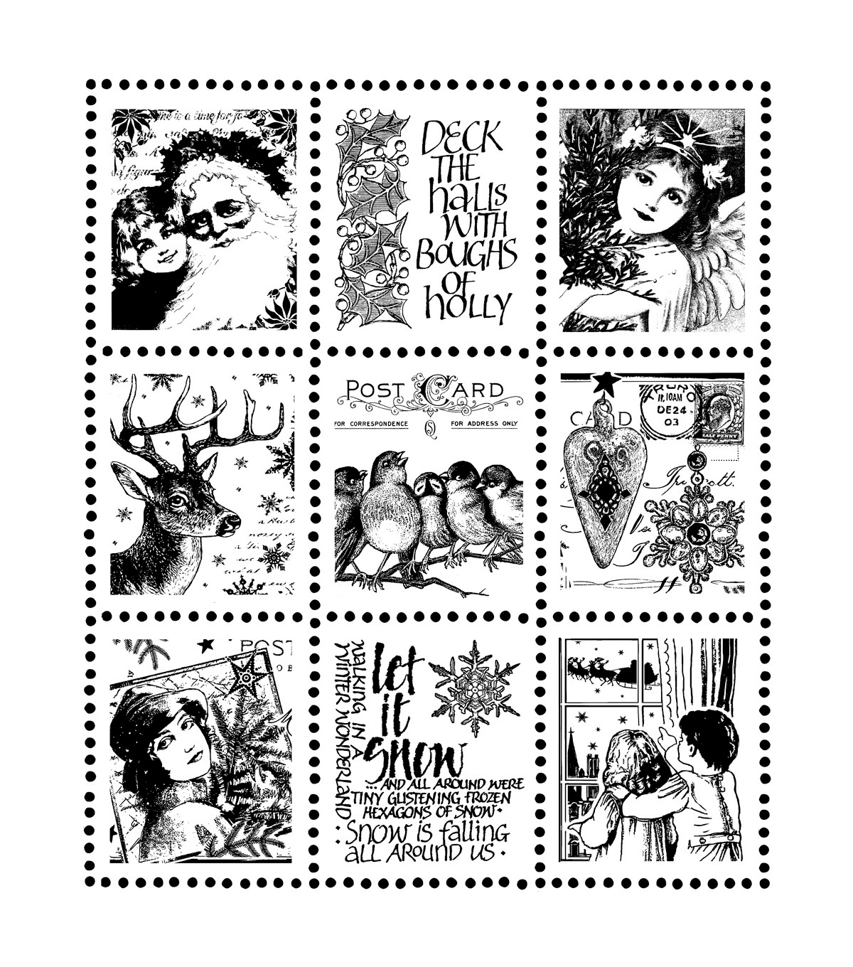 Crafty Individuals Christmas Postage Stamps Unmounted Rubber Stamp