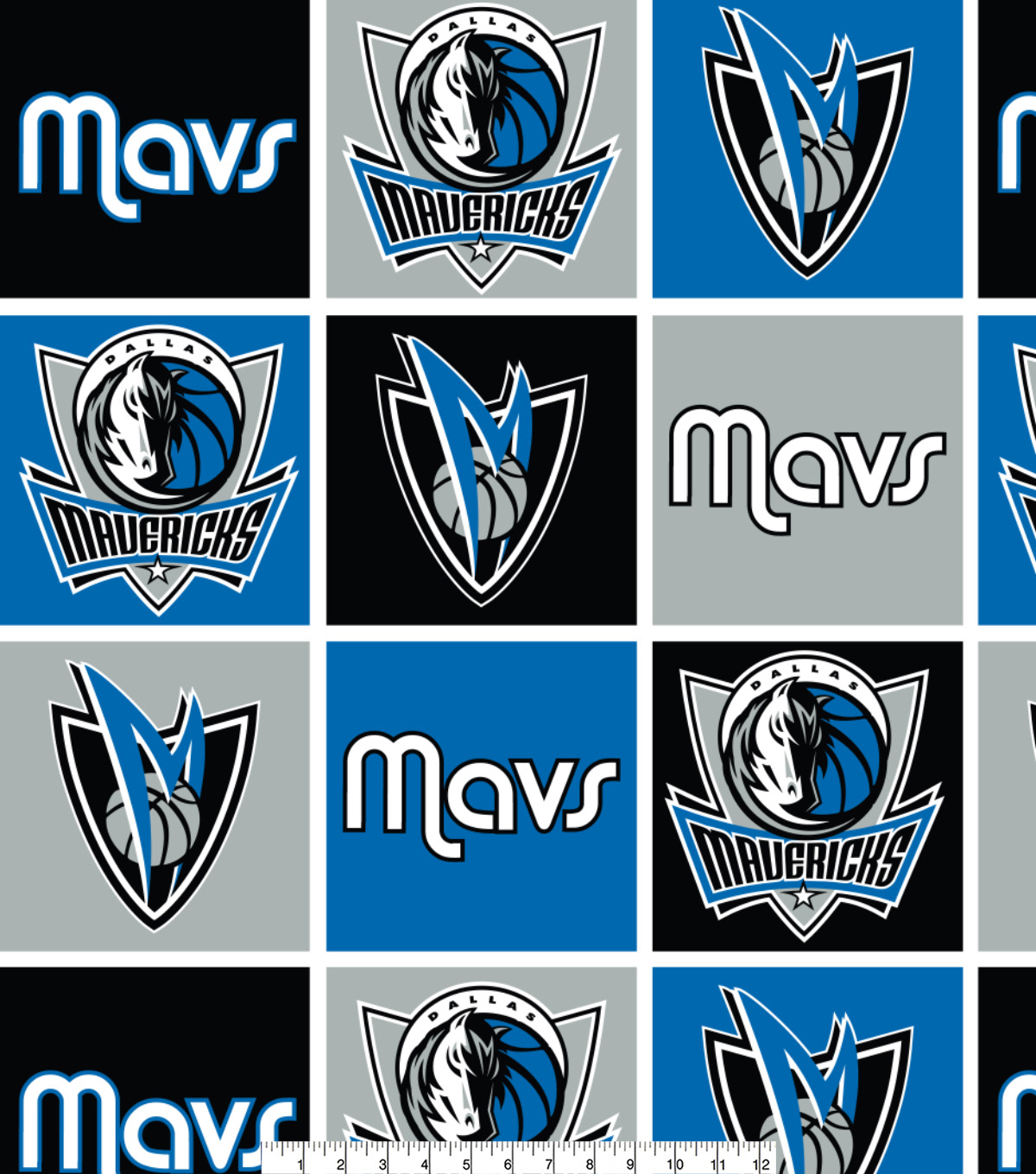 Dallas Mavericks Fleece Fabric -Block