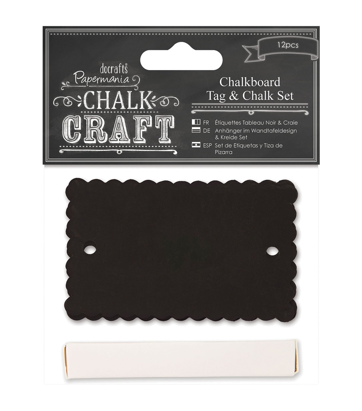 Papermania Chalk Craft Scalloped Chalkboard Tag & Chalk Set