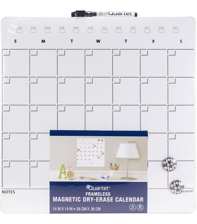 Quartet Magnetic Dry Erase Calendar Tile 14 X14 One Month Design