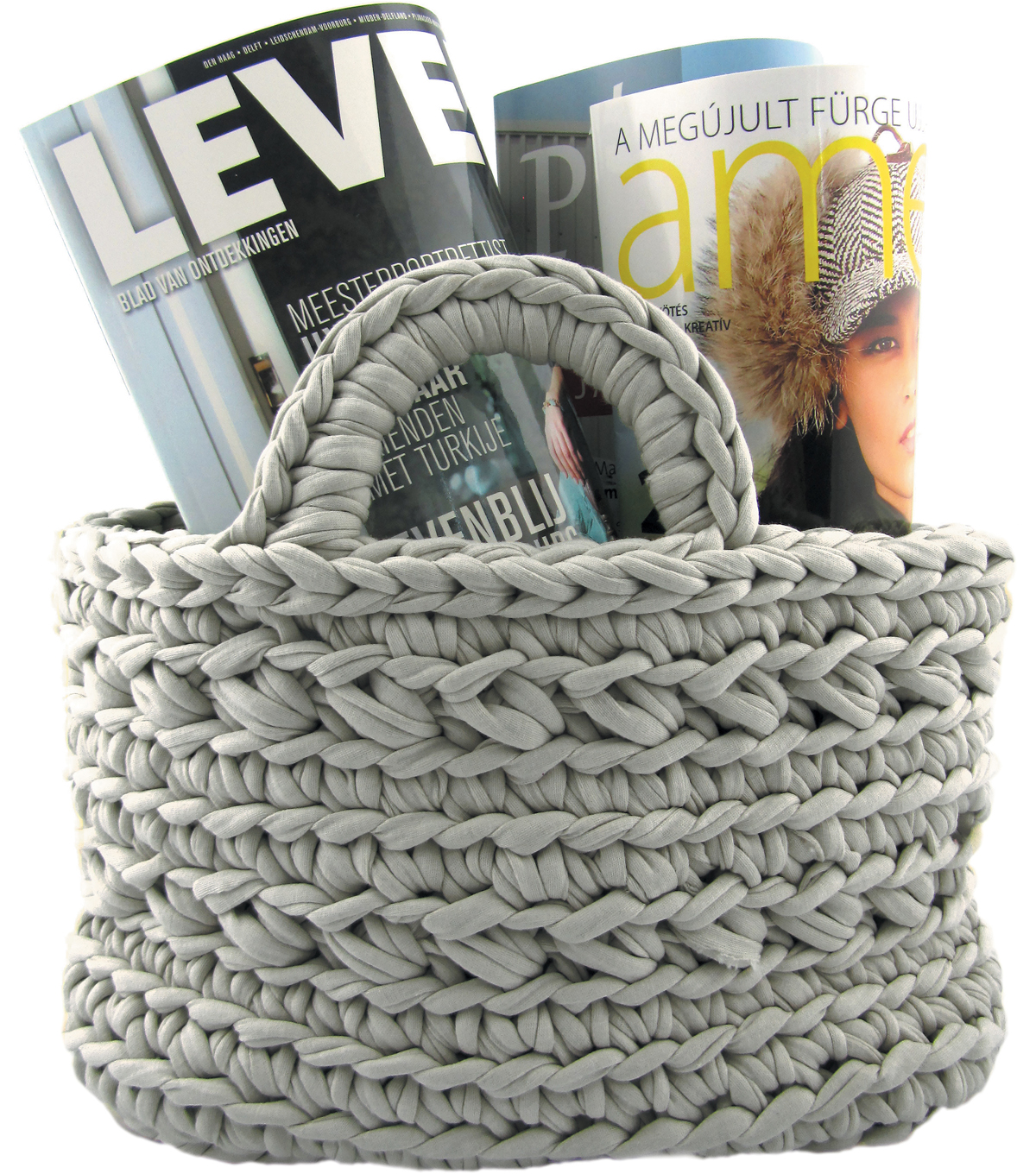 Hoooked Revisto Basket Kit with Zpagetti Yarn-Medium Gray