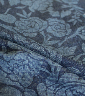 Denim Fabric -  Rose Embossed Blue Denim