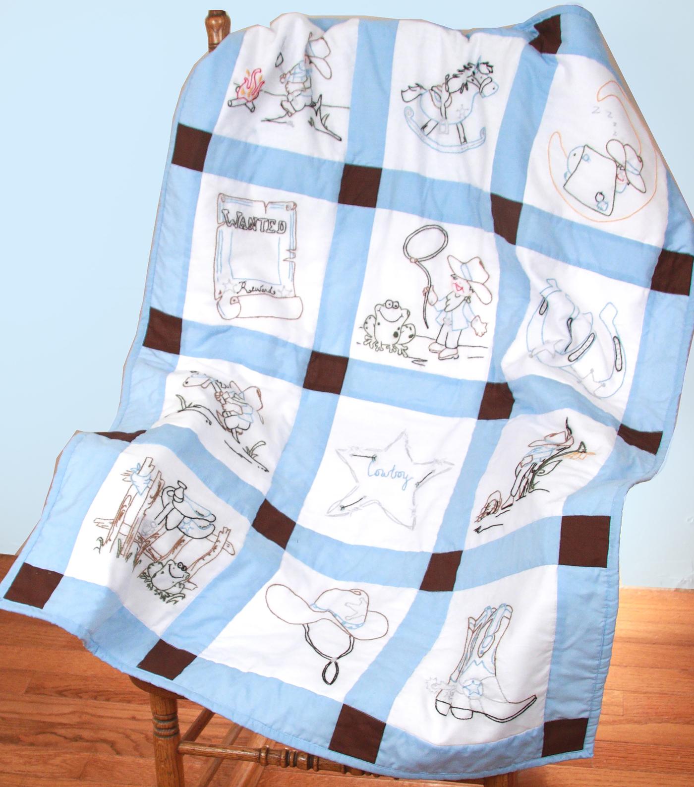 Baby Quilt Patterns.Fairway Needlecraft 12 Pk 9 X9 Stamped Baby Quilt Blocks Cowboys