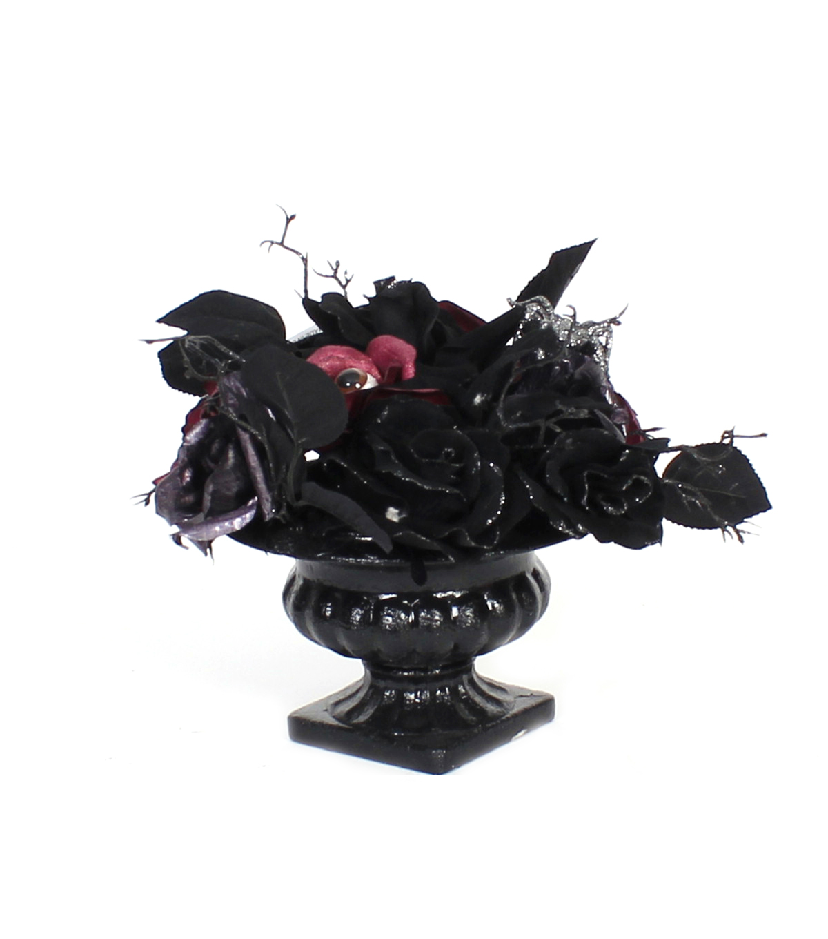 Maker\u0027s Halloween Rose Arrangement with Eyes-Purple