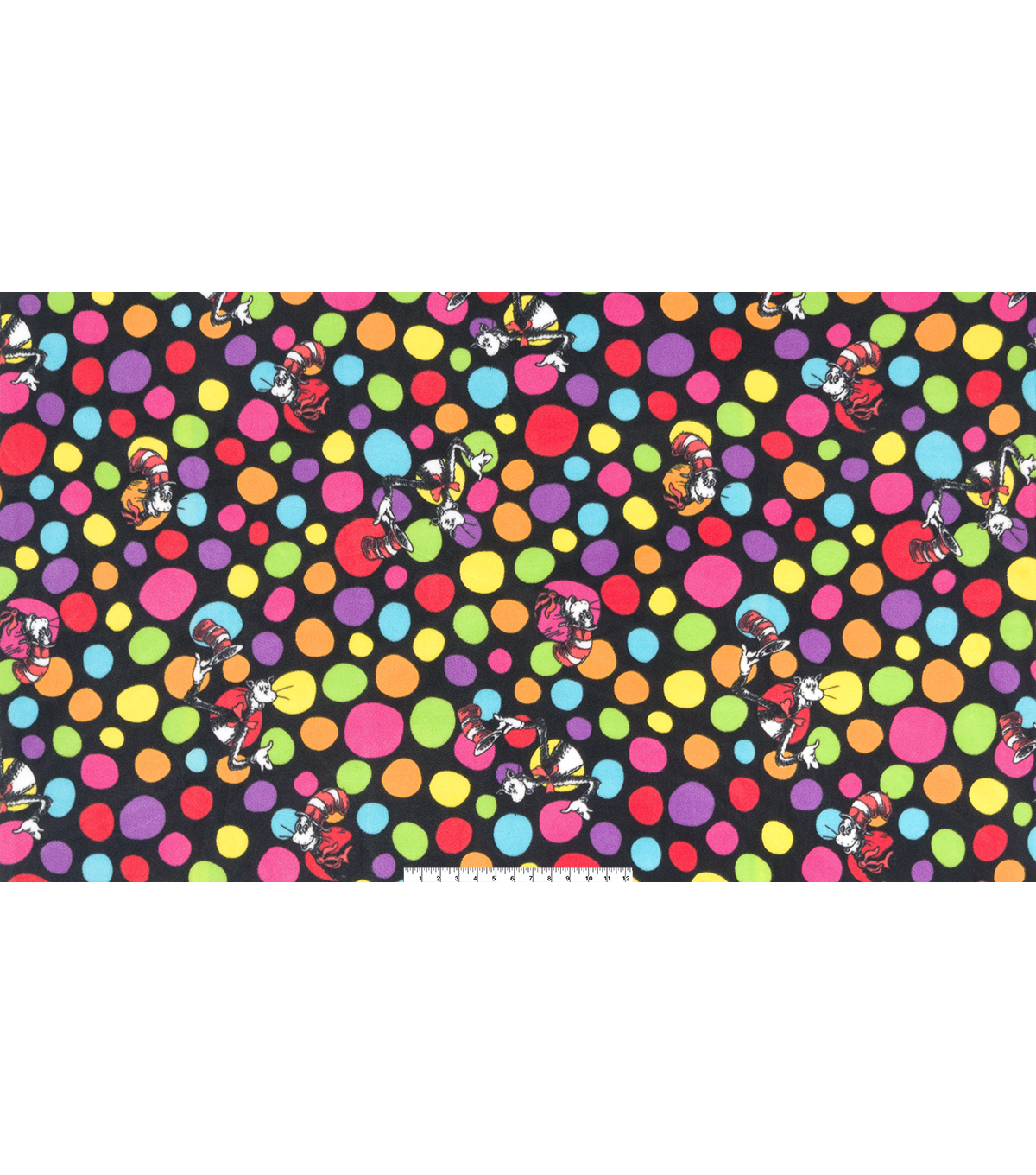 Dr. Seuss Cotton Fabric 60\u0027\u0027-Cat & Dots on Black