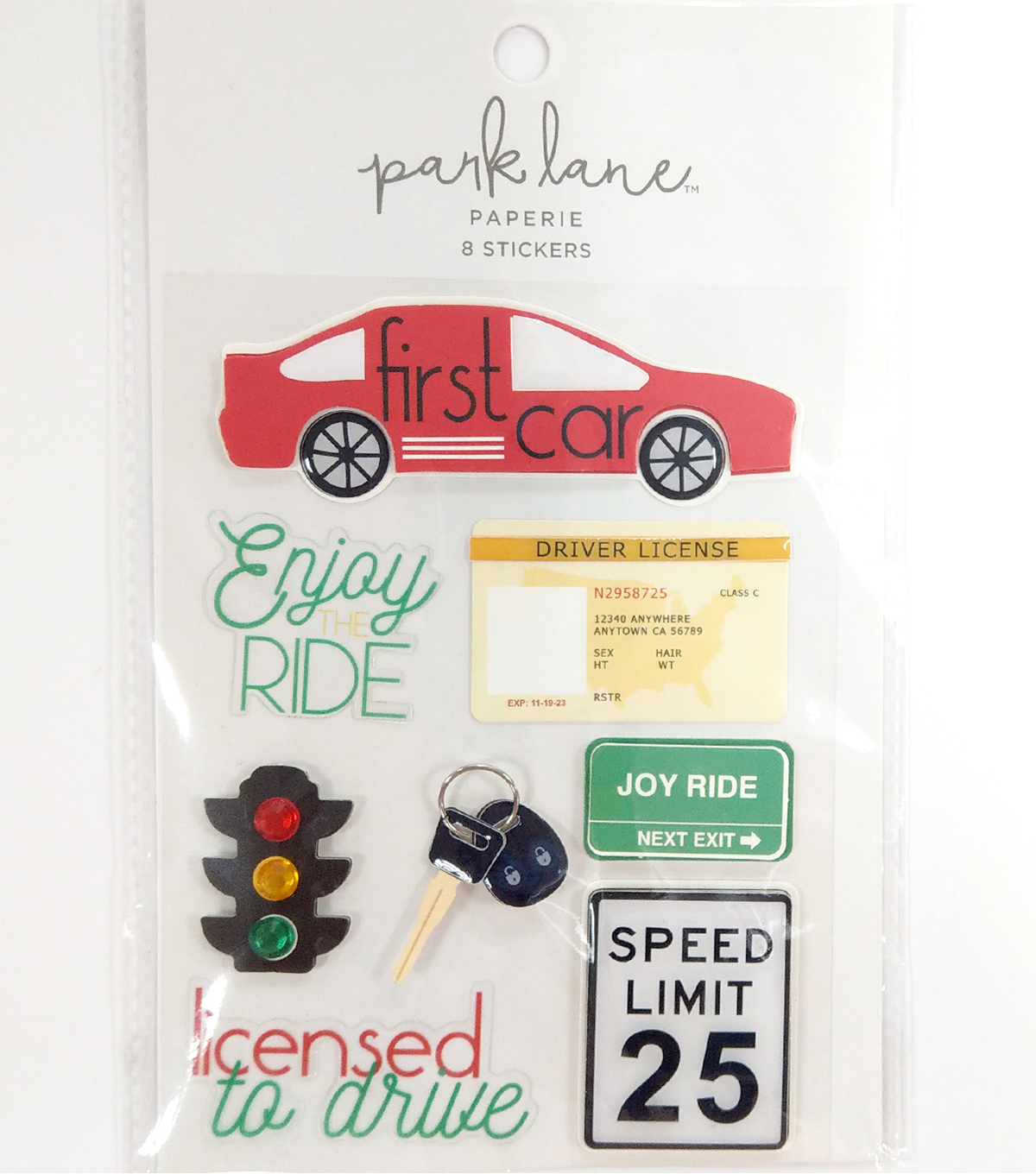 Park Lane Paperie 8 pk Stickers-First Car