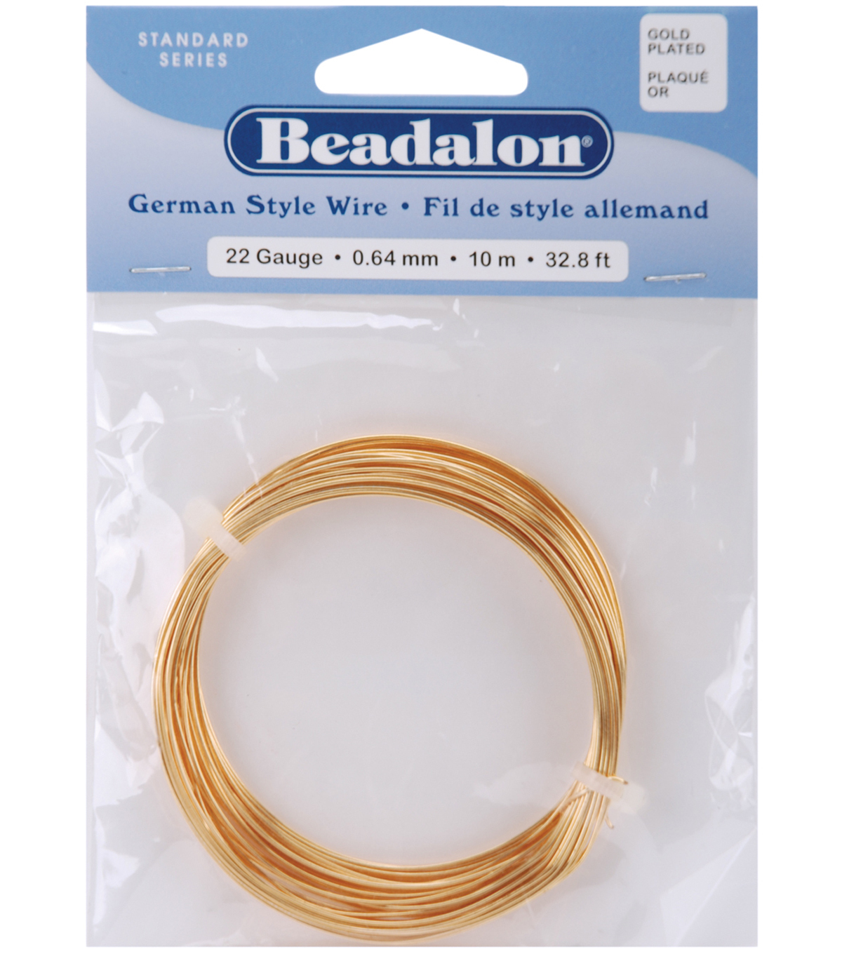 Beadalon German Style Round Wire 22 Gauge 32.8 Feet/Pkg-Gold