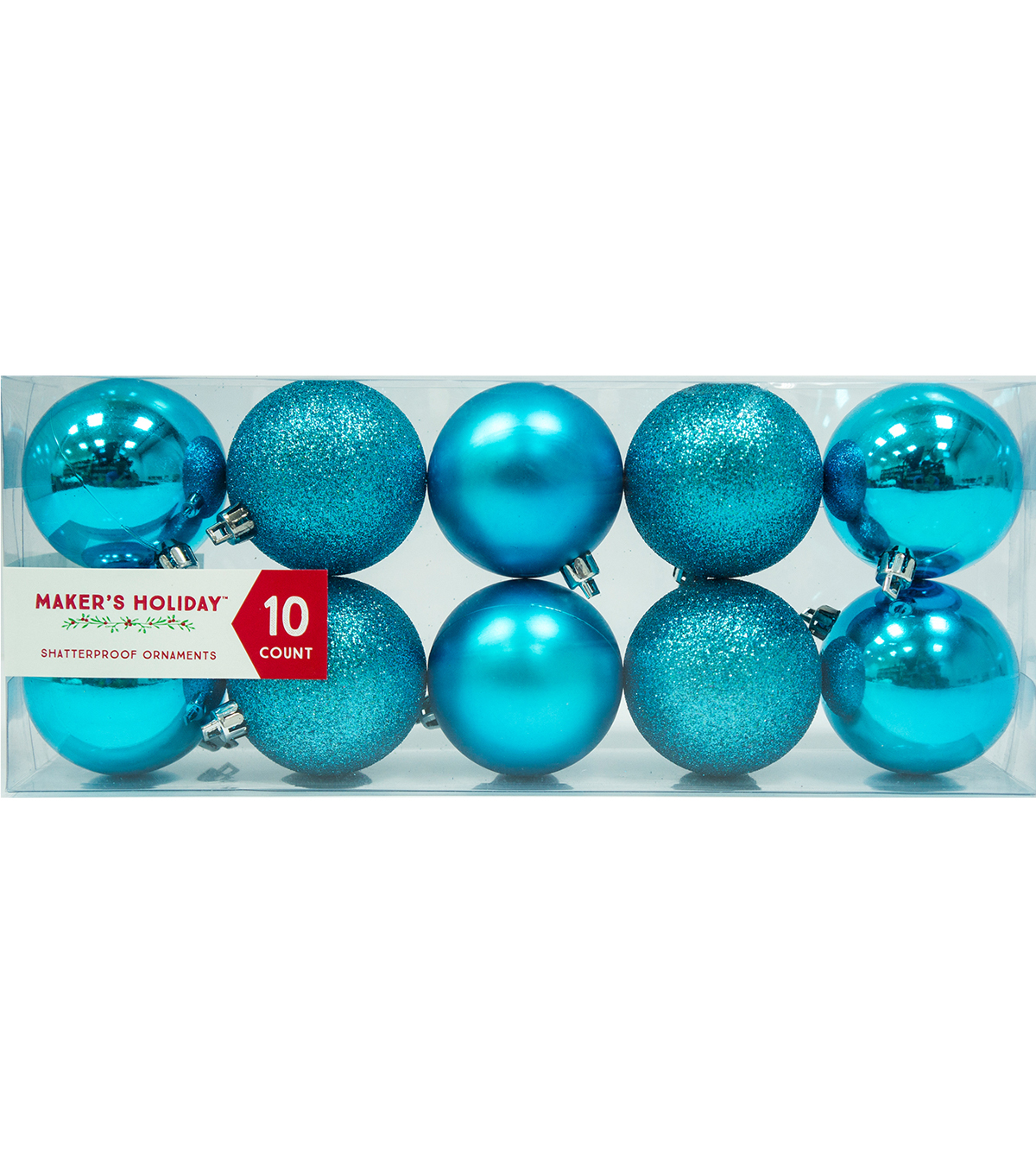 Maker\u0027s Holiday 10pk Shatterproof Ornaments-Turquoise