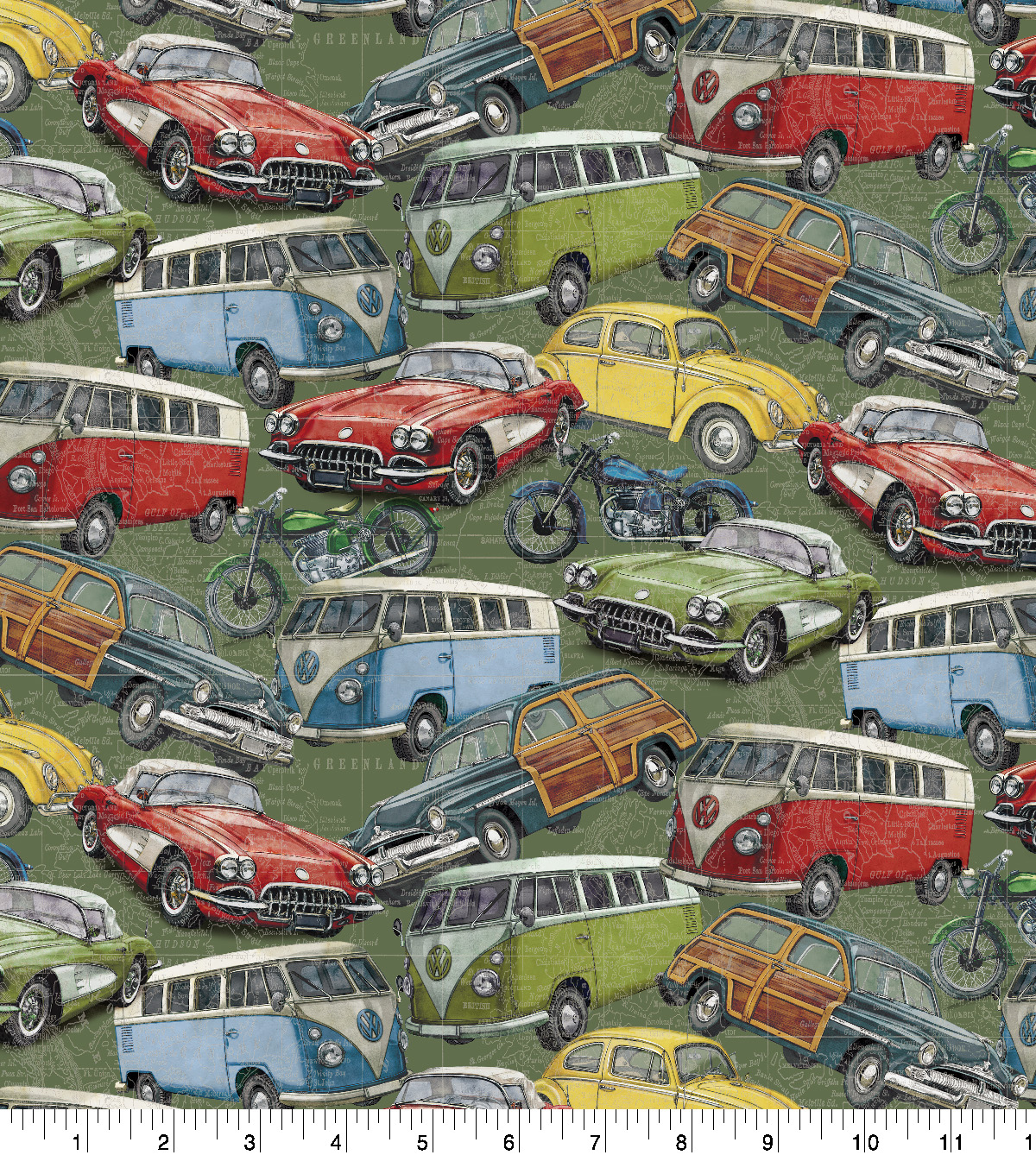 Premium Cotton Fabric-Vintage Packed Cars