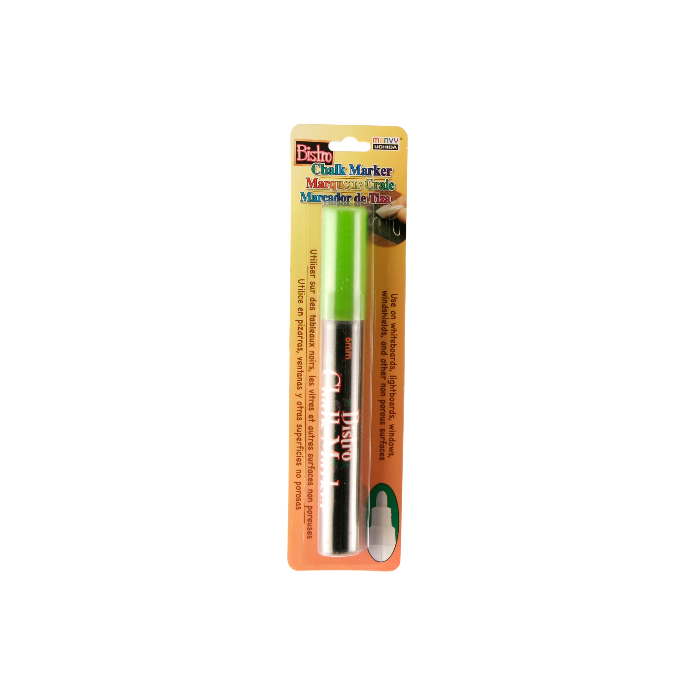 Bistro Chalk Marker 6mm Bullet Tip 1/Pkg-White, Fluorescent Green