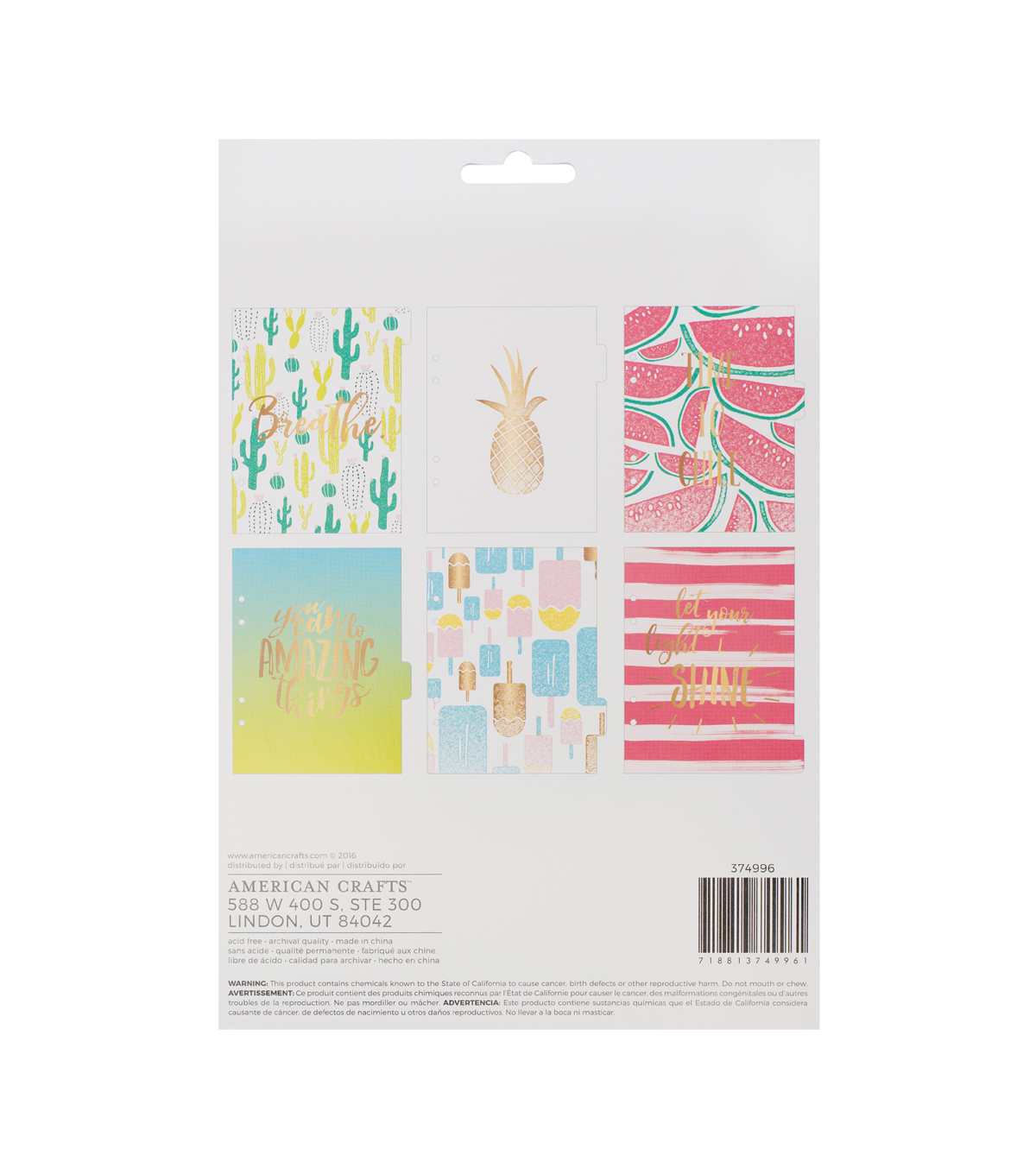 American Crafts 6 Pack Memory Planner Tabbed Dividers