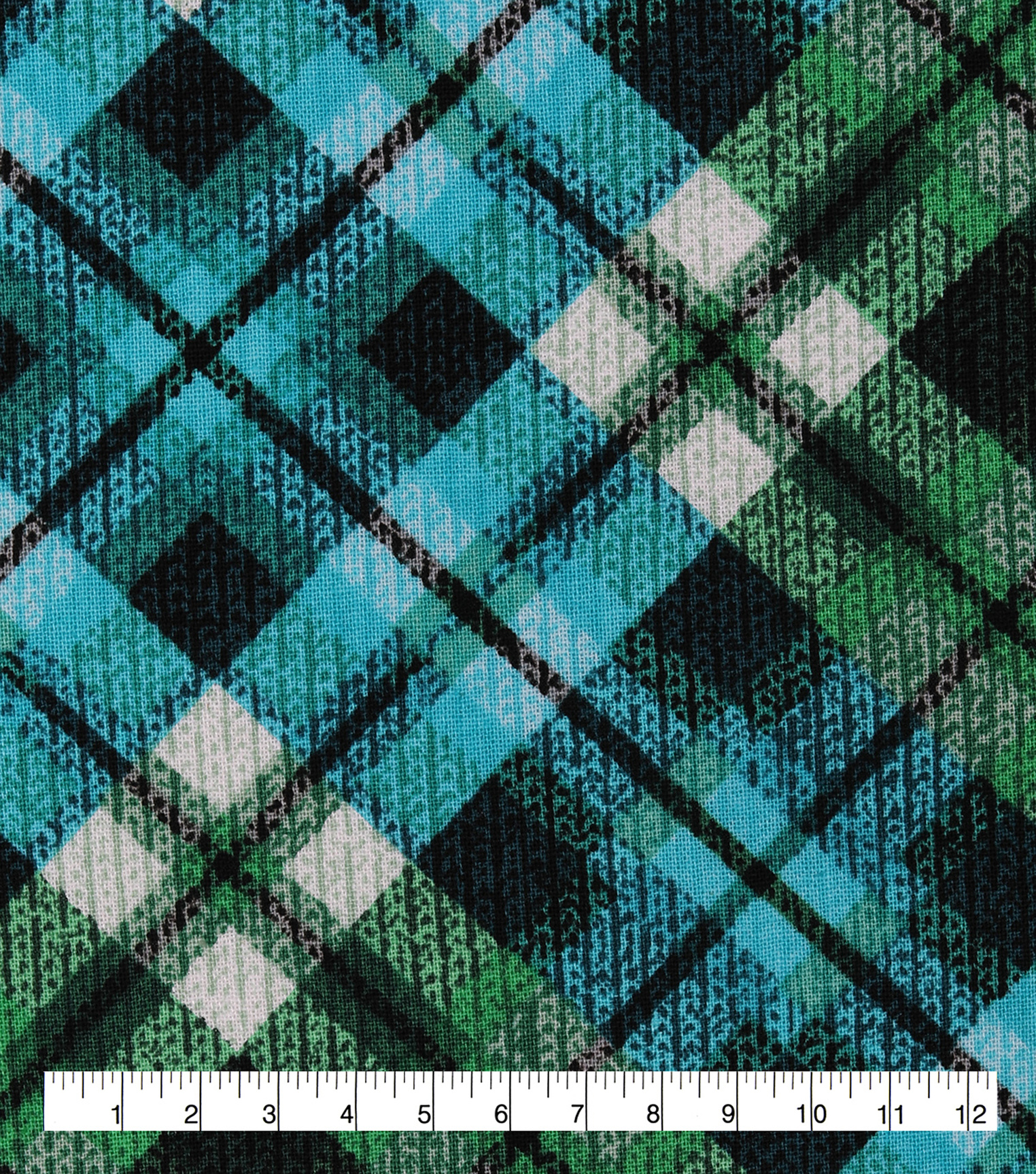 Keepsake Calico Cotton Fabric-Green & Blue Distressed Plaid