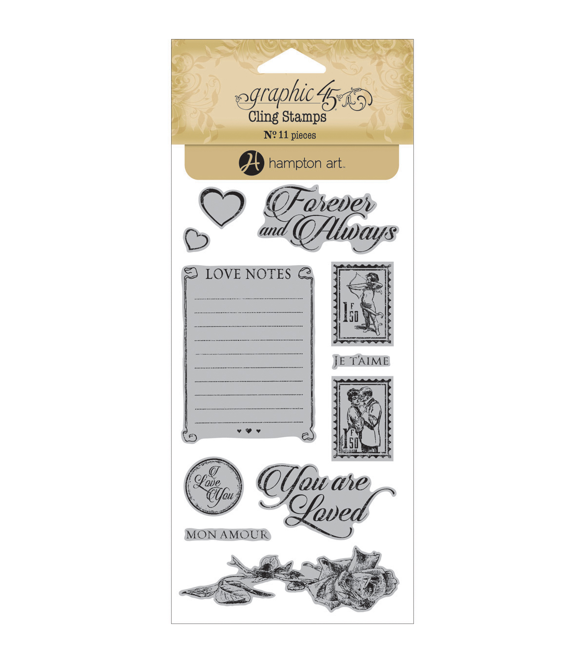 Graphic 45 Mon Amour Cling Stamps-#2