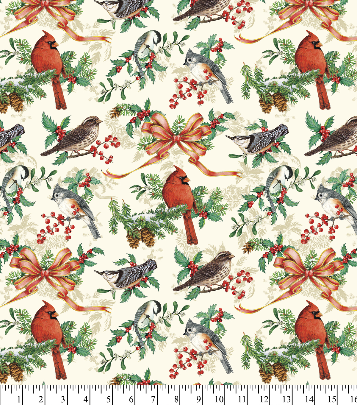 Maker\u0027s Holiday Cotton Fabric 44\u0022-Birds and Bows
