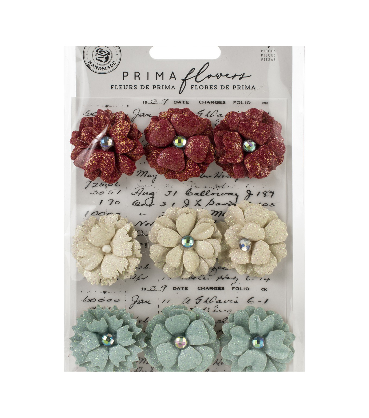 Prima Marketing Midnight Garden 9 pk 1.2\u0027\u0027 Paper Flowers-11th Hour