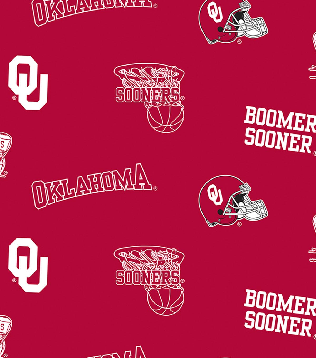 University of Oklahoma Sooners Fleece Fabric -All Over