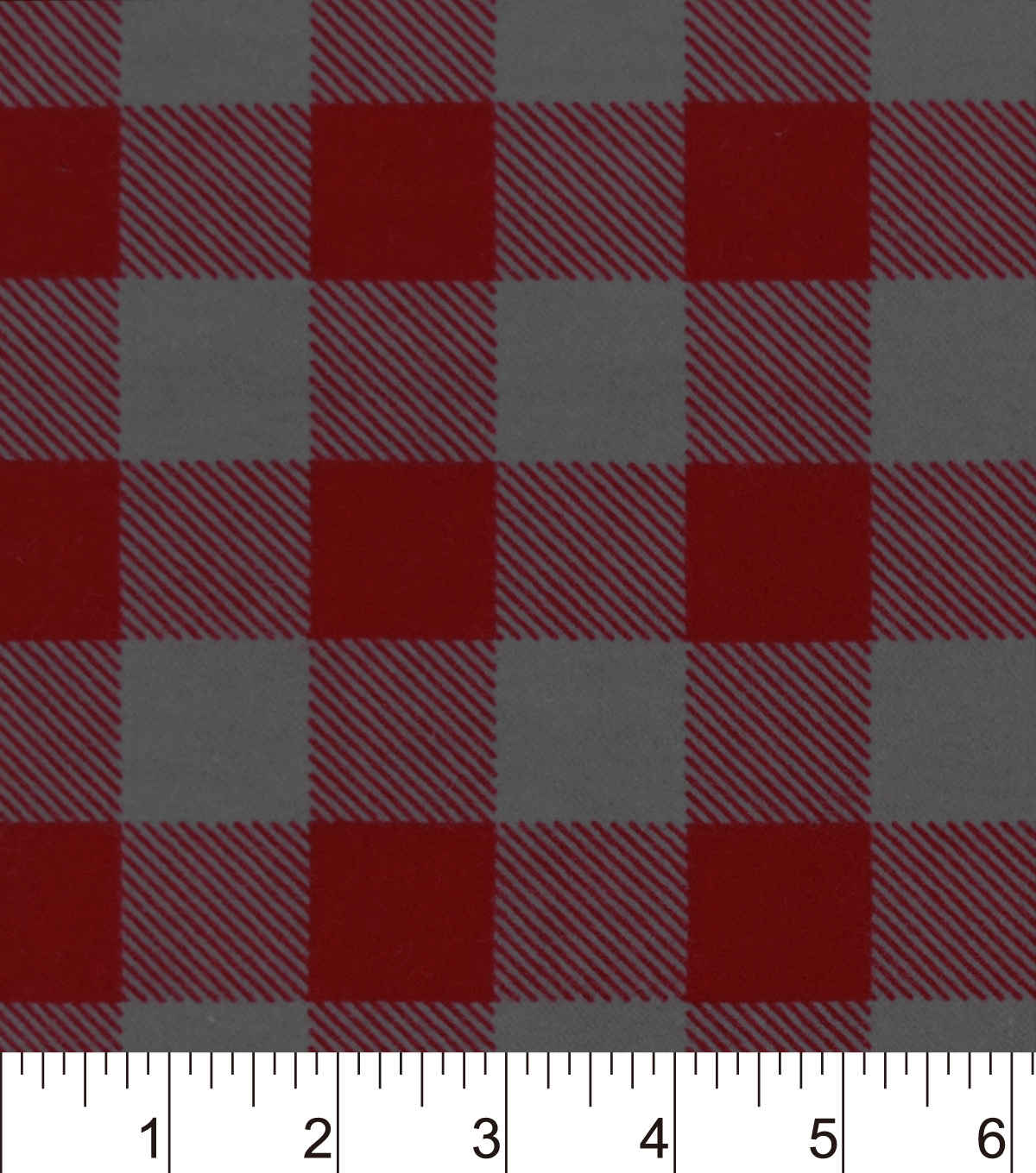 Snuggle Flannel Fabric 42\u0022-Red Gray Buffalo Check