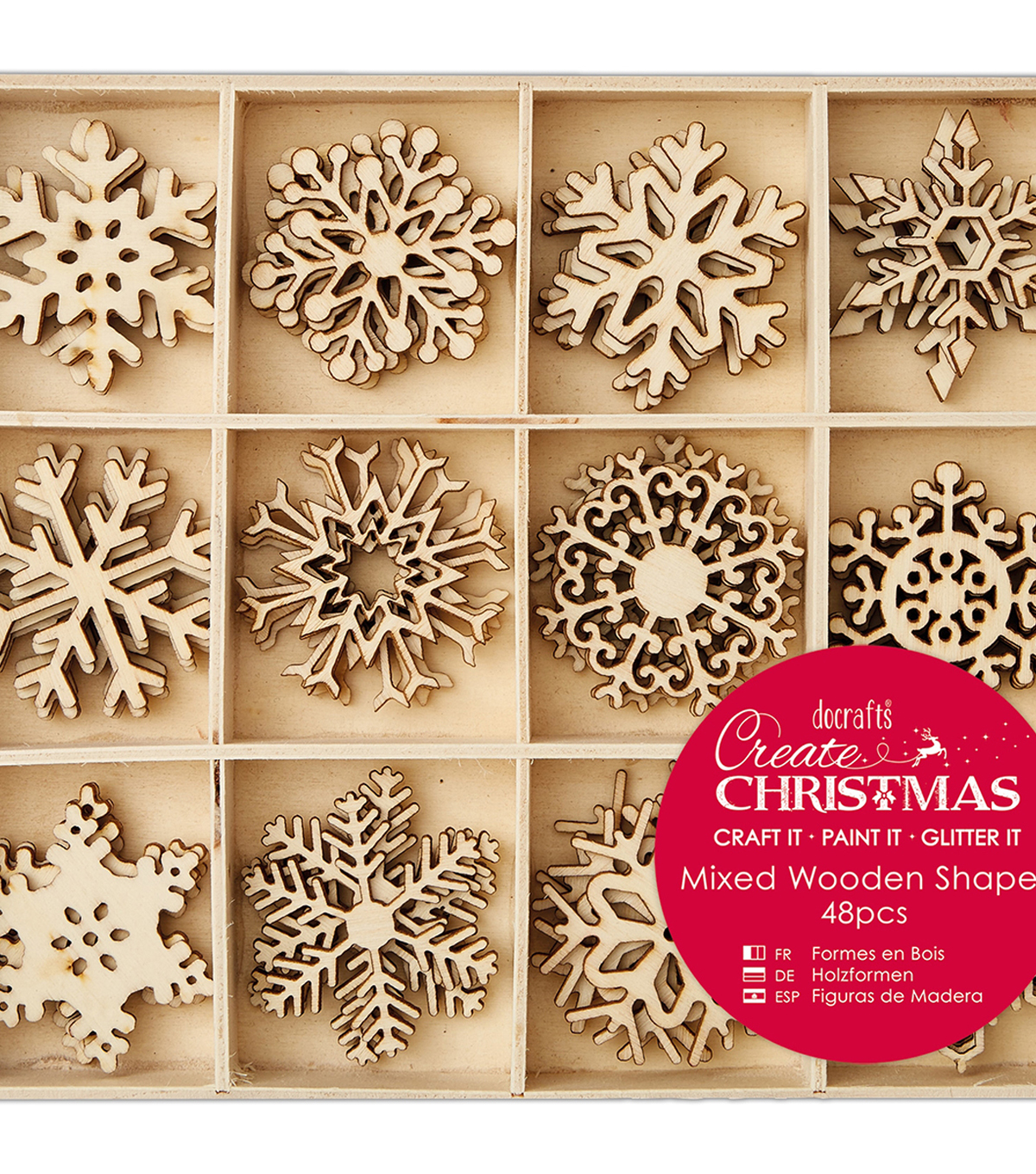 Papermania Create Christmas Wooden Shapes In Tray Large Snowflakes