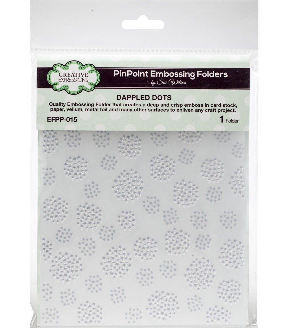 Creative Expressions PinPoint Embossing Folder 5.75\u0022x7.5\u0022-Dapple Dots