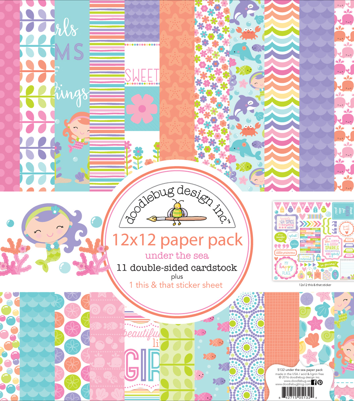 Doodlebug Double-Sided Paper Pack 12\u0022X12\u0022-Under The Sea