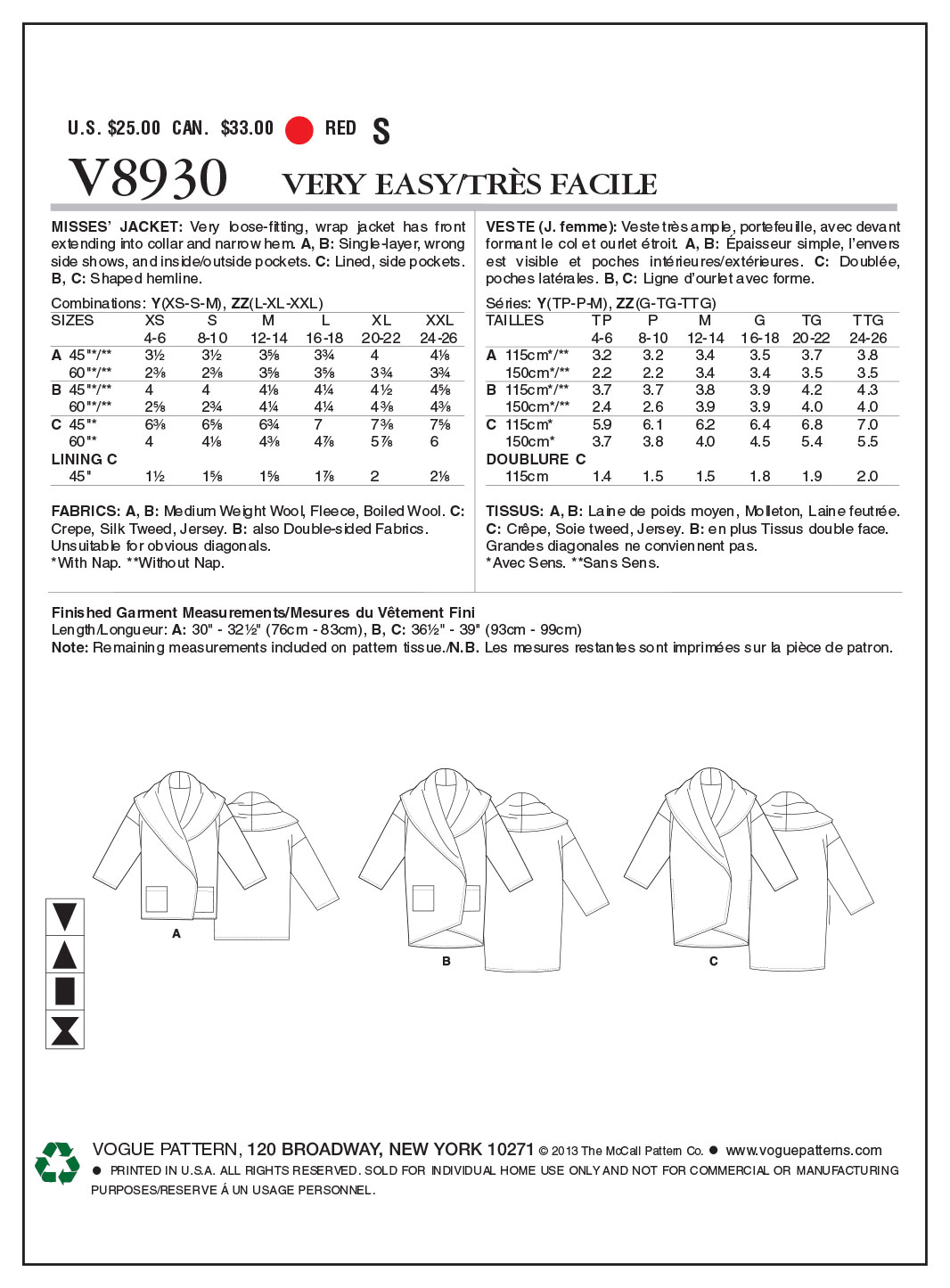 Vogue Patterns Misses Outerwear-V8930