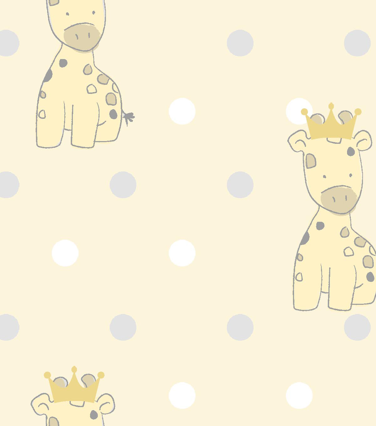 Nursery Royal Cotton Fabric -Giraffe & Dot Print