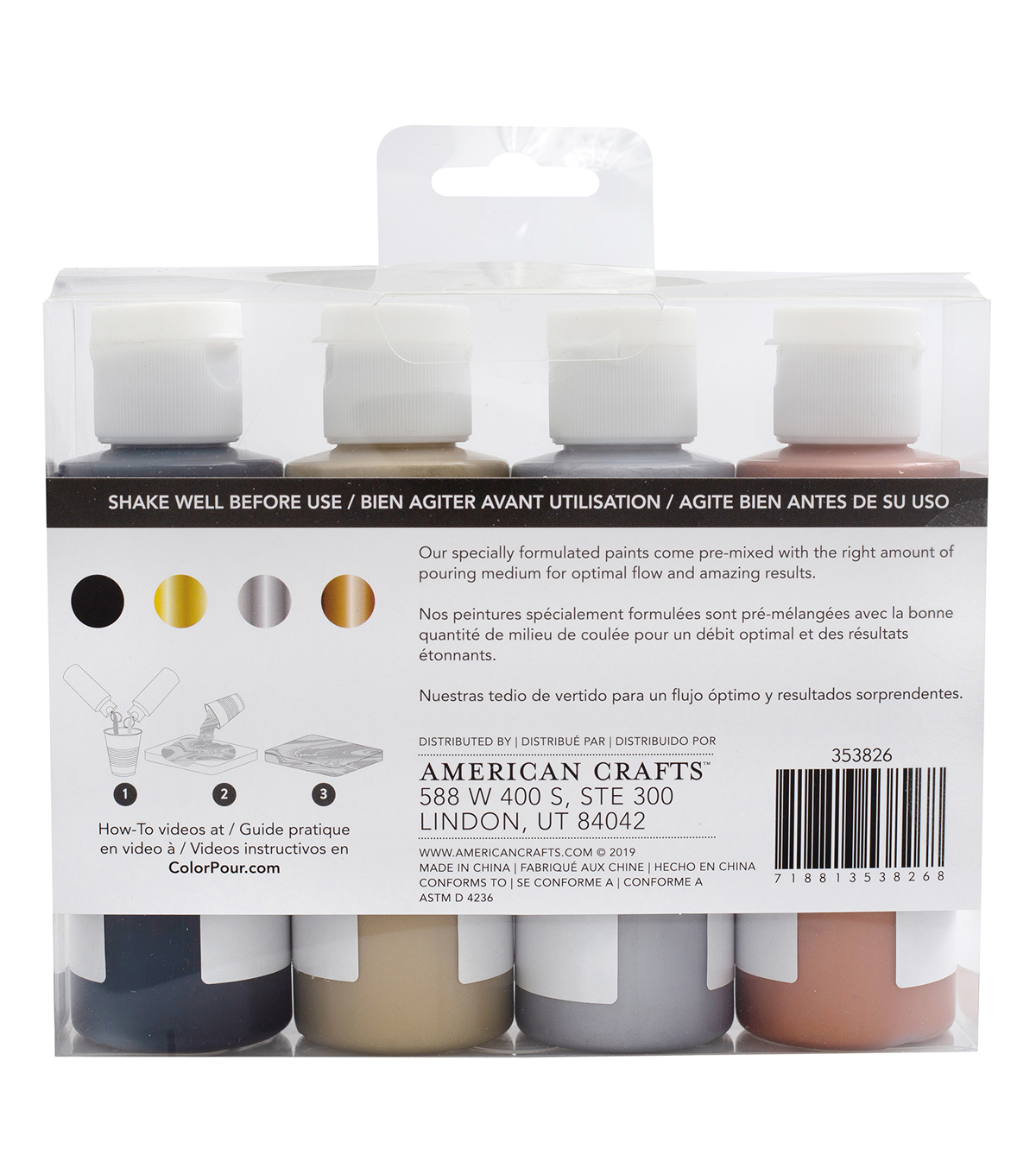 American Crafts Color Pour Pre-Mixed Paint Kit-Metallic Black