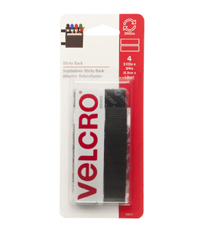 VELCRO(R) Brand Sticky Back Tape .75\u0022X3.5\u0022 4 count Multipack of 12