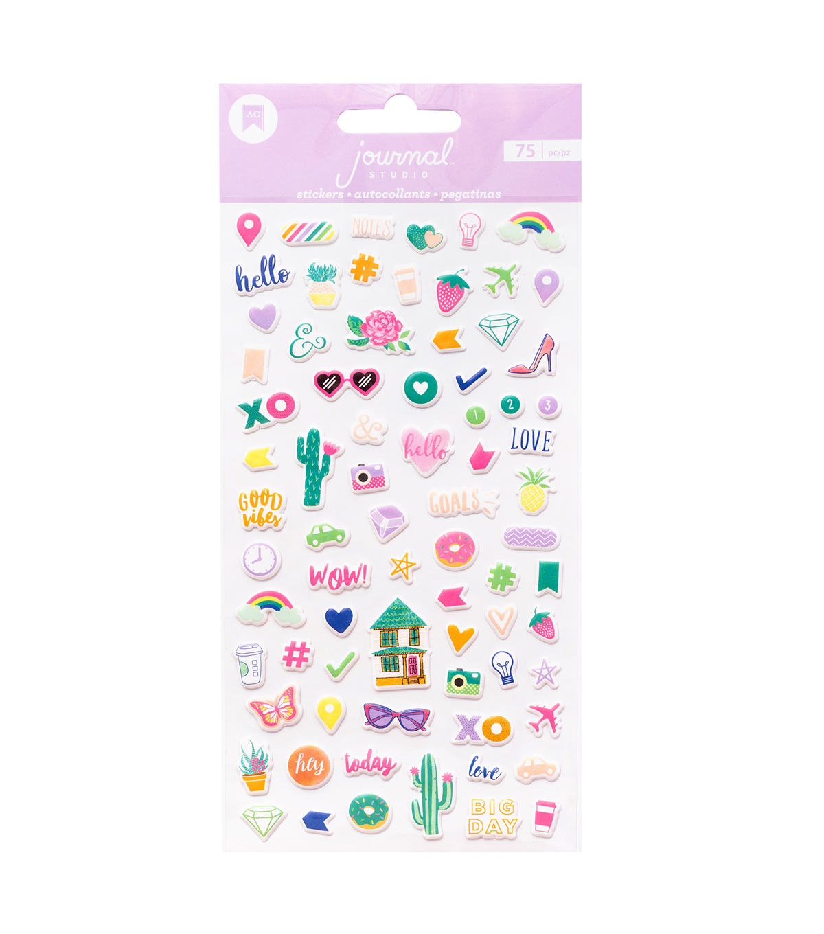 American Crafts Journal Studio 75 pk Mini Puffy Stickers-Good Vibes