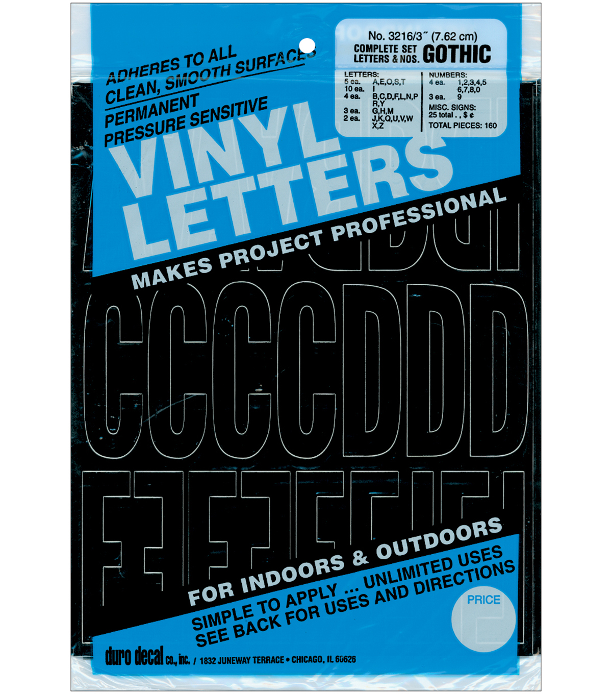 Duro decal 160 pk 3u0027u0027 permanent adhesive vinyl letters numbers