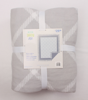 No-Sew Throw Fleece Fabric 72\u0022-Gray Windowpane Plaid