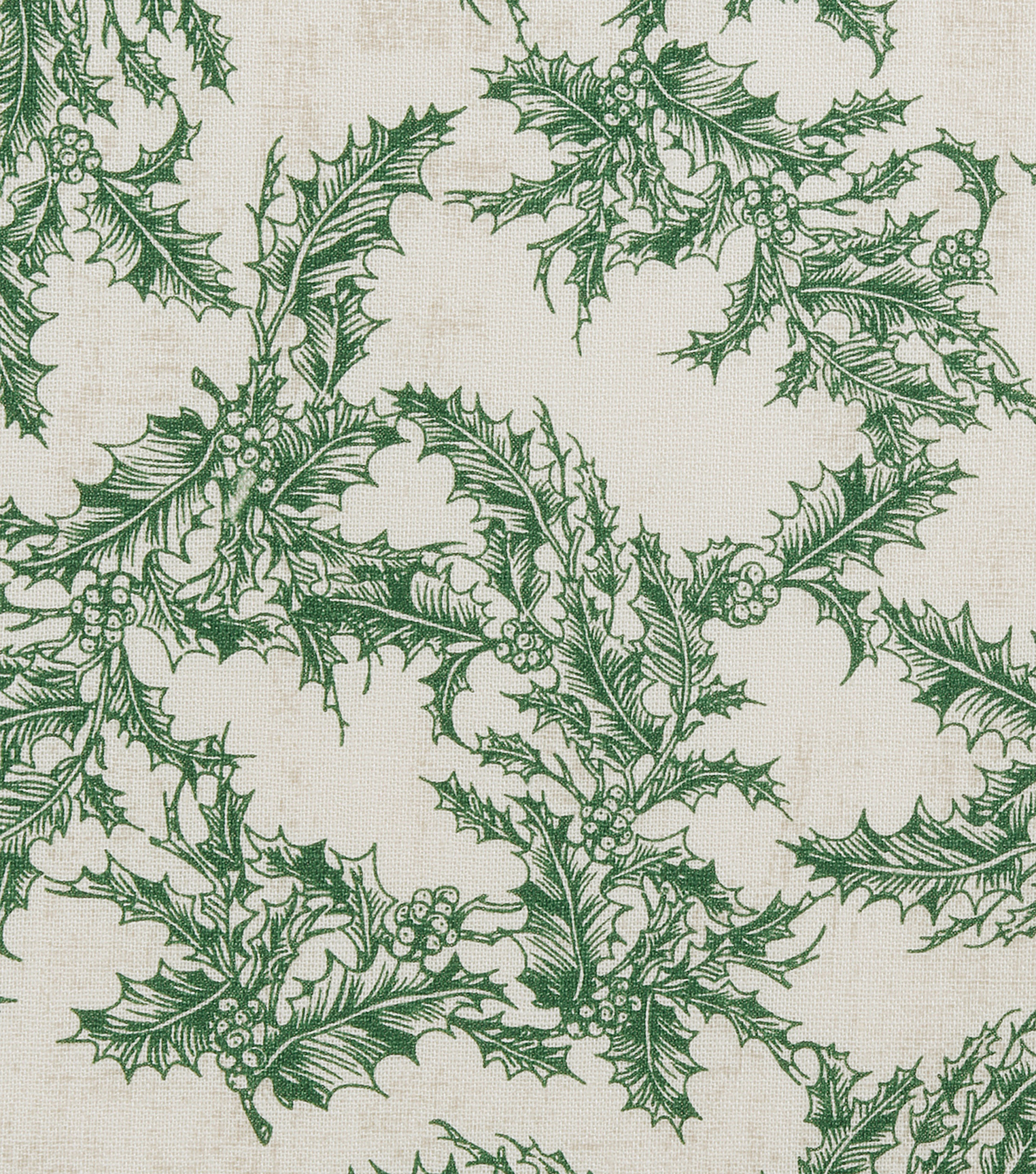 Christmas Cotton Fabric-Green Holly Leaves