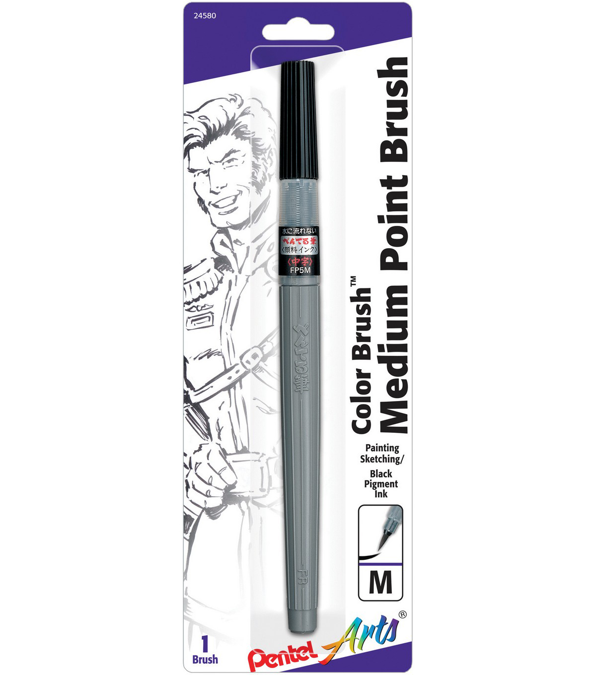 Pentel Arts Color Brush Pen-Medium Tip, Black Pigment Ink