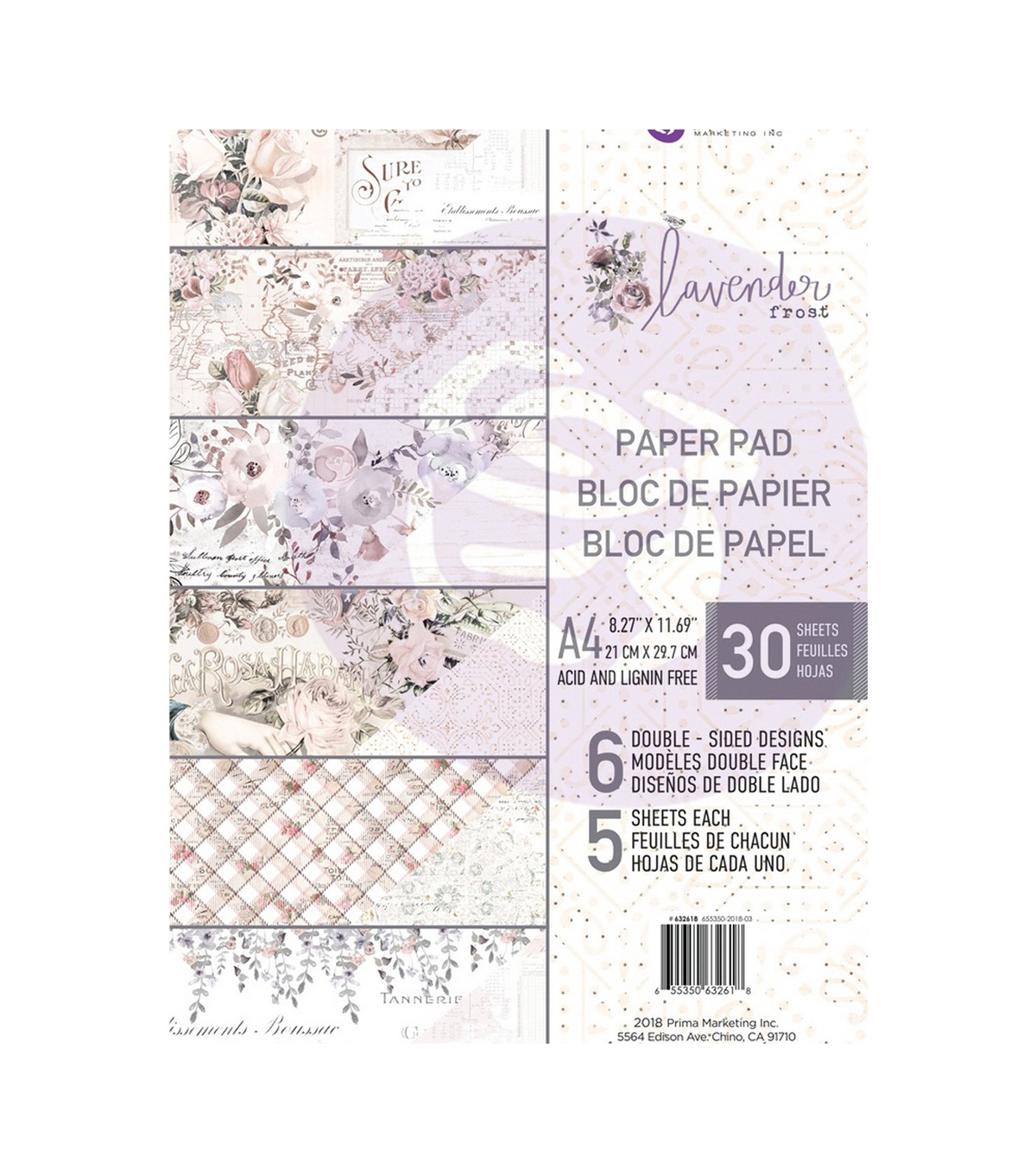 Prima Marketing Double-Sided Paper Pad 30/Pkg-Lavender Frost, 6 Designs
