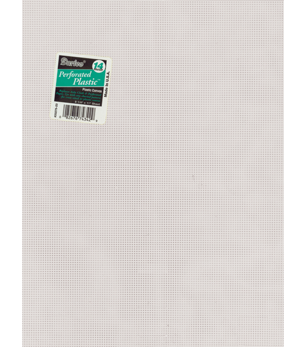 Perforated Plastic Canvas 14 Count 8.5\u0022X11\u0022-White