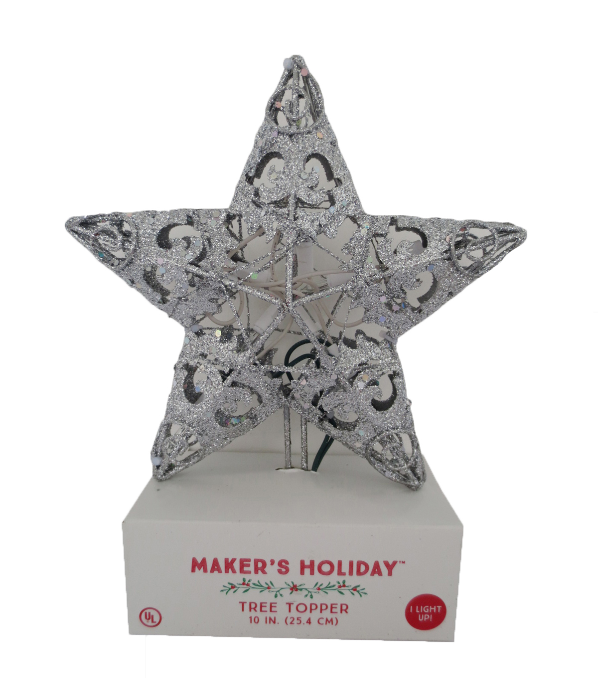 Maker\u0027s Holiday Metal Star Tree Topper-Silver