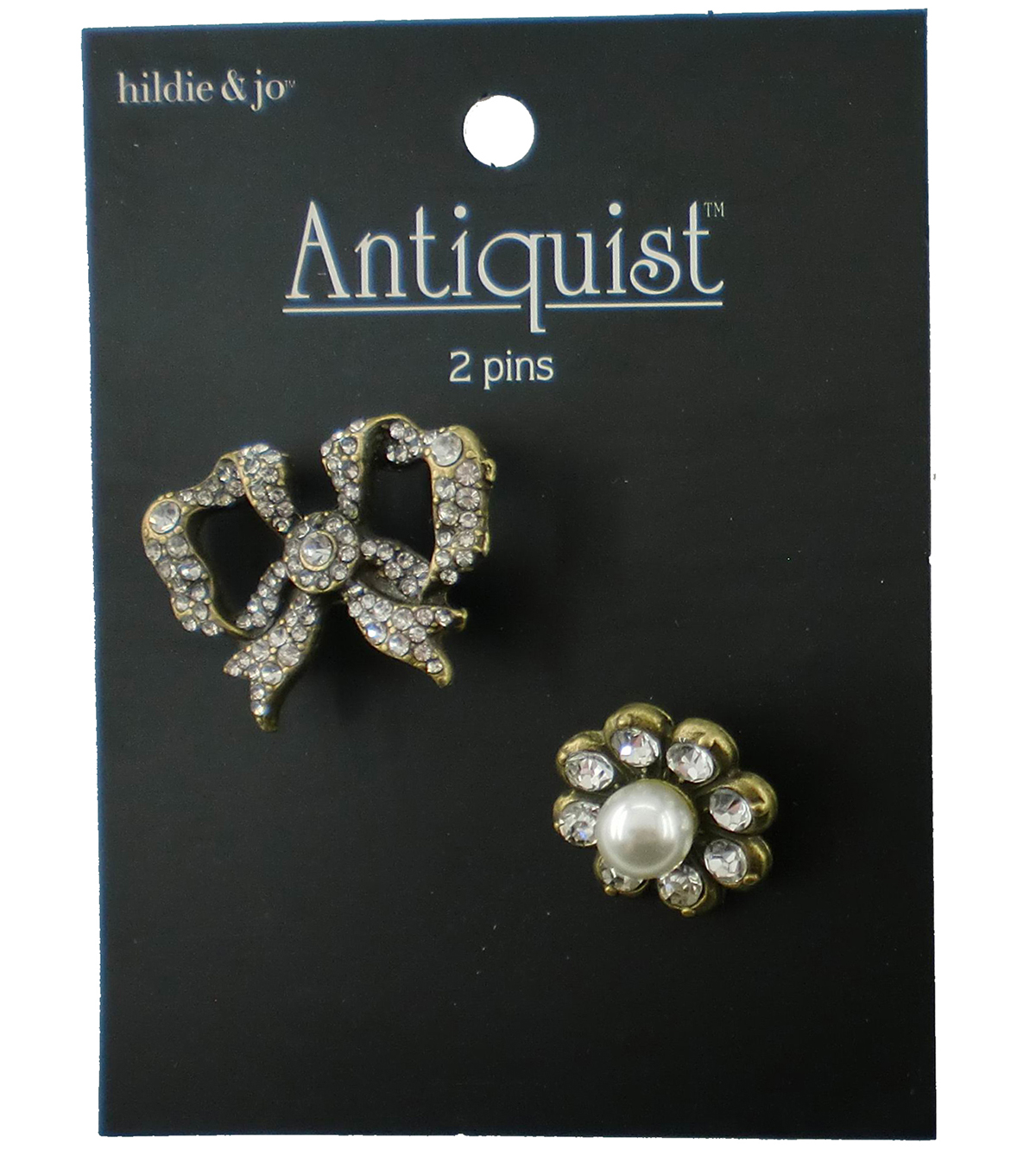 hildie & jo Antiquist 2 Pack Bow Antique Gold Pins-Clear Crystals