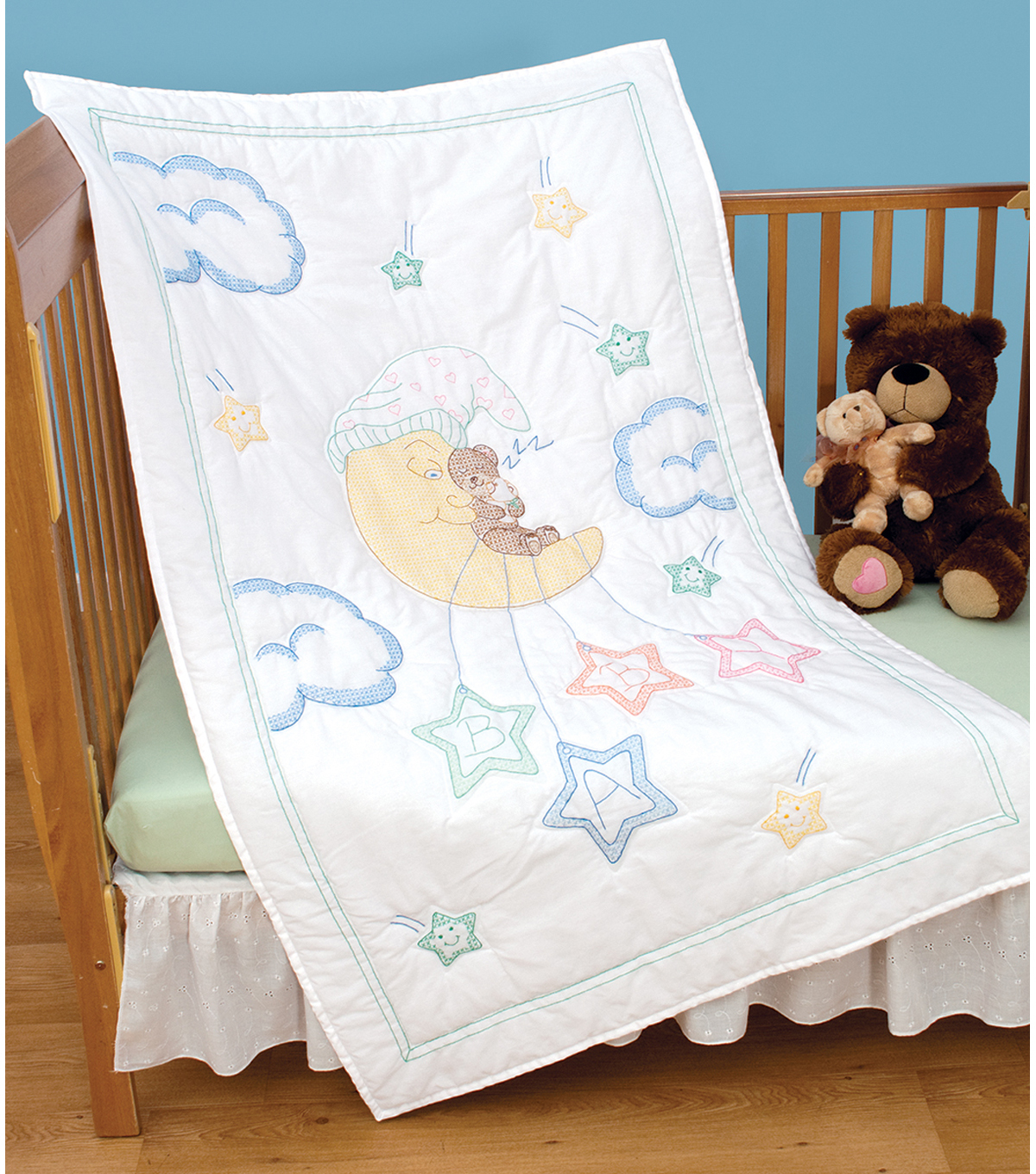 """Jack Dempsey Stamped White Quilt Crib Top 40/""""x60/""""-owls"""