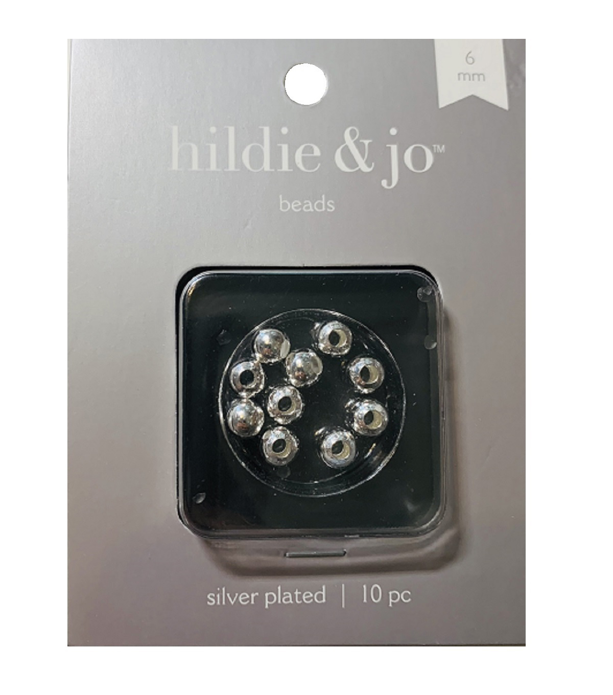 Silver Plated Metal Findings-6mm Round Bead 10/Pkg