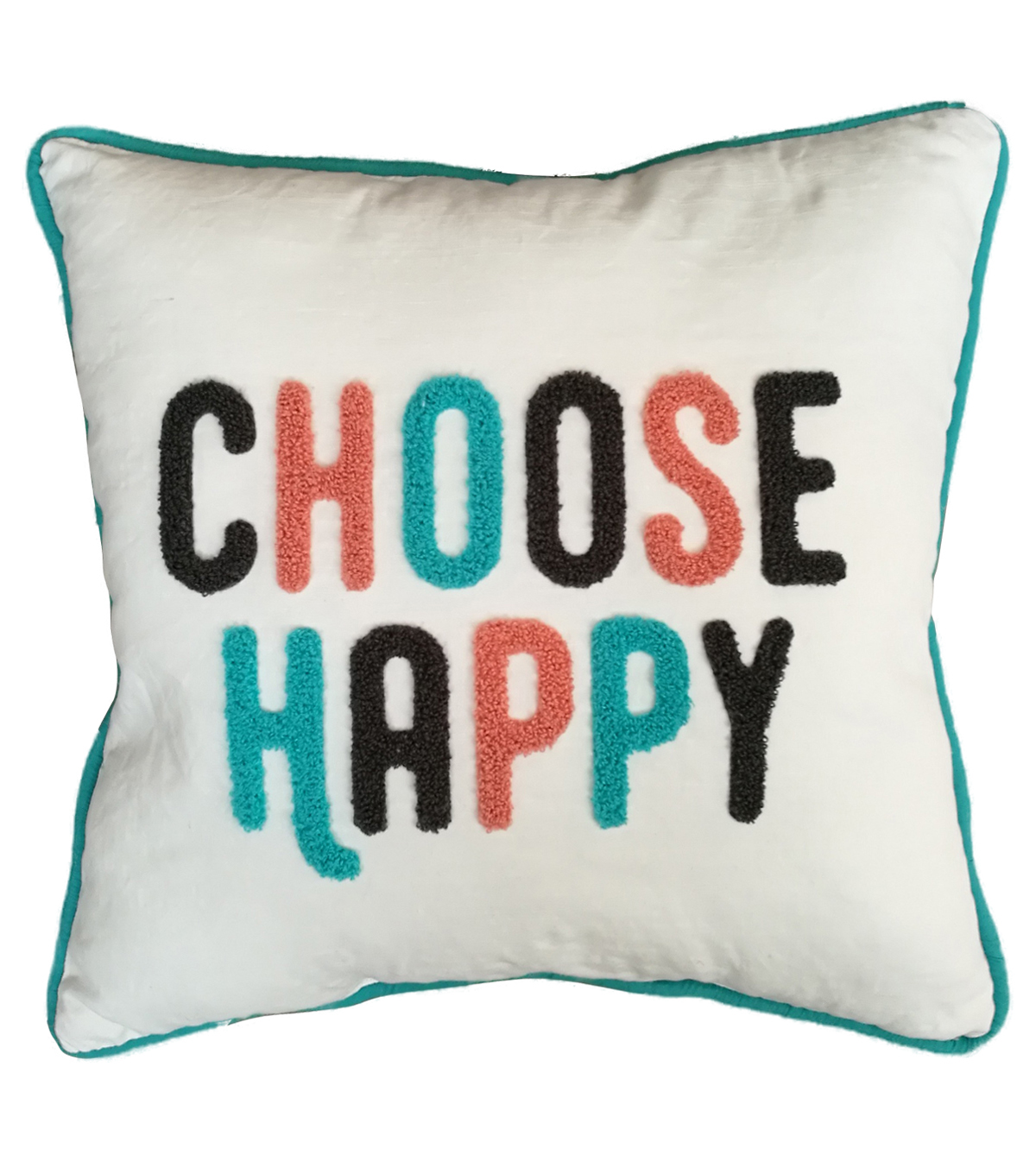 Cotton Slub Pillow 17\u0027\u0027x16\u0027\u0027-Choose Happy