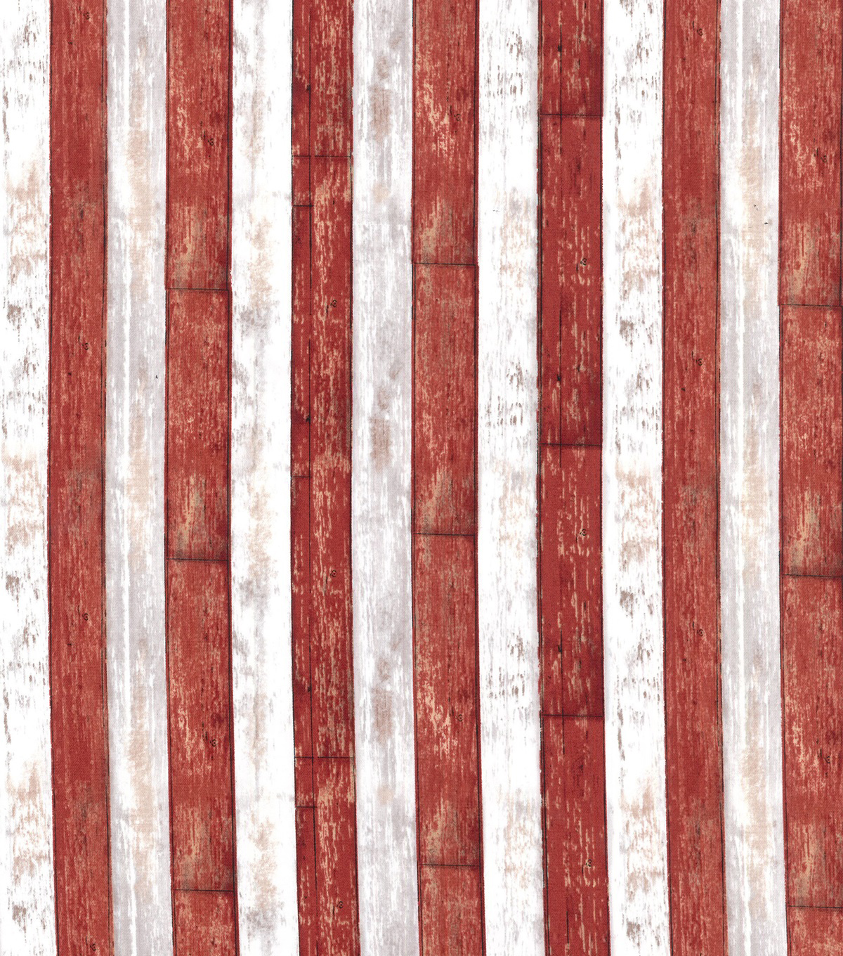 Patriotic Cotton Fabric-Red & White Woodplank