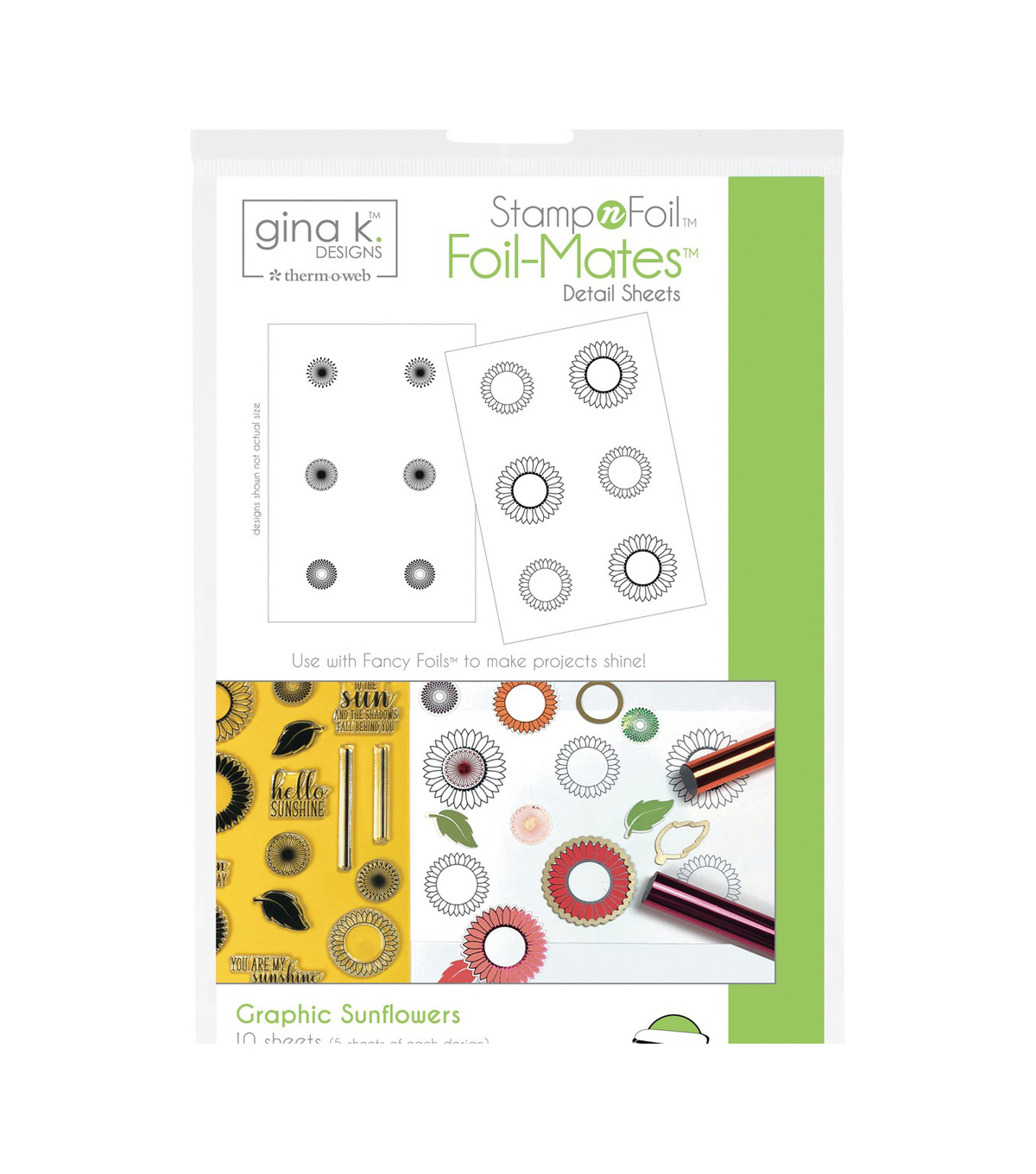 Gina K Designs StampnFoil Foil-Mates Detail Sheets-Graphic Sunflowers