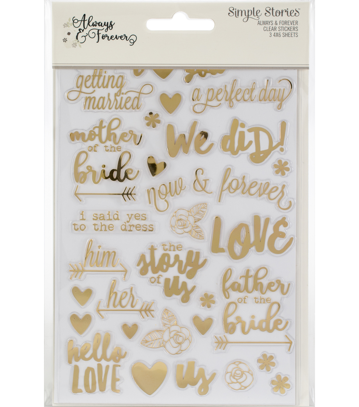 Simple Stories Always & Forever 3 pk 4\u0027\u0027x6\u0027\u0027 Clear Sticker Sheets