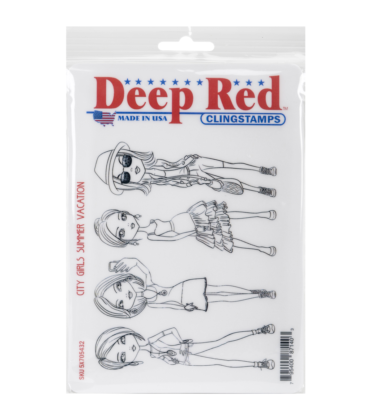 Deep Red Stamps Cling Stamp-City Girls Summer Vacation