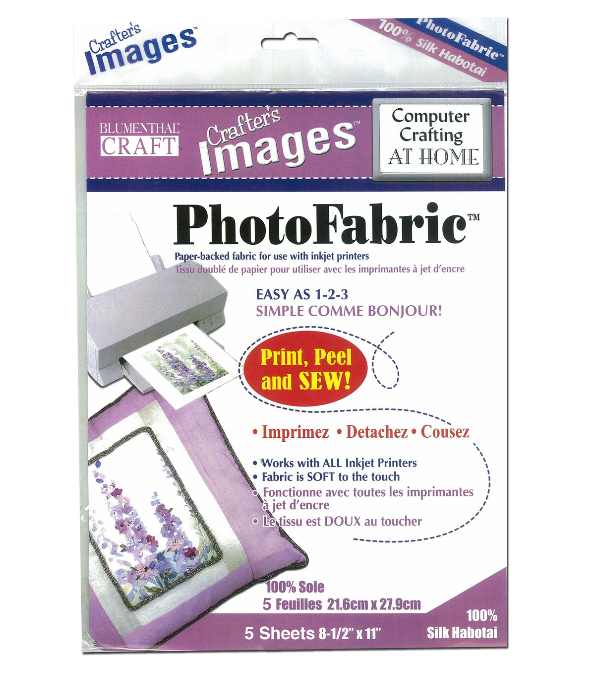 Blumenthal Craft Photofabric Silk Habotai 5-8.5inx11in Sheets