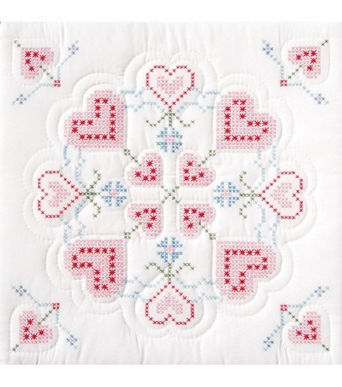 Jack Dempsey Stamped White Quilt Blocks Interlocking xxx Hearts